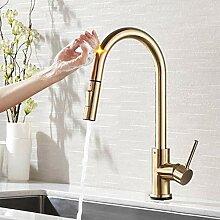 Ziehen Sie Sensor Küchenarmatur Gebürstet Gold