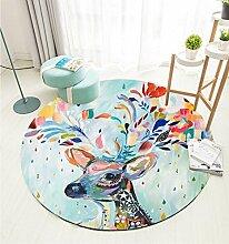 Ziemlich Runde Hirsche Tier Teppiche Mode Beliebte Teppiche Wohnzimmer Schlafzimmer Stuhl Matten Large Medium Small ( Color : A , Size : Diameter 100cm )