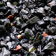 Zierkies Marmorkies VULKANO gebrochen Marmor Splitt - Farbe schwarz mit Lichtreflexen in rot und weiß(Vulkano-Schwarz)