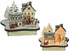 Zierschmuck Weihnachten Deko Winterlandschaft beleuchtet | wunderschöne Weihnachtsdeko mit je 8 warmweißen LED für tolle Ausleuchtung | wunderschöne detailliert gearbeitete beleuchtete Winterlandschaf
