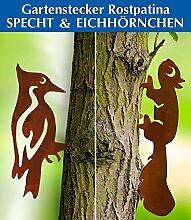 Zierstecker Rostpatina 2er-Set Eichhörnchen und Specht,1 Se