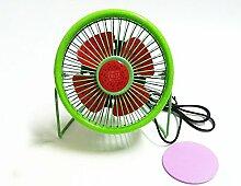 ZIJIFAN 4 Zoll süße Frucht mini Ventilator student Kreativität Wassermelone PC-Lüfter Büro Schallgedämpfte maximale Ventilator, Grün