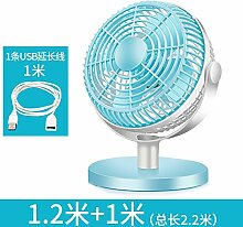 ZIJIFAN 7-Zoll-USB-Ventilator kleine elektrische Ventilatoren mute student Hostels bed mini Ventilator kleiner Schreibtisch Ventilator Desktop Office, Blau