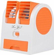 ZIJIFAN Kleiner elektrischer Ventilator kreative USB Mini Silent Fan Viertel der kleine Lüfter bett Büro Herrn Ventilator, Orange