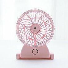 ZIJIFAN Kreative usb Aufladen der Luftbefeuchter Ventilator mini Dual leaf Ventilator USB mini Ventilator Ventilator / 12 x 16 cm, Sommer handheld Rosa