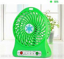 ZIJIFAN Usb mini Ventilator wiederaufladbare student Hostels mute portable Desktop Desktop kleiner elektrischer Ventilator maximale Wind Power, grün