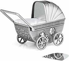 Zilverstad Spardose Kinderwagen mit Gravurplatte,