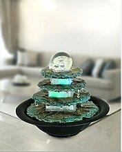 Zimmerbrunnen Terrasse rund Tischbrunnen mit LED farbwechselnd für eine gemütliche, entspannte Atmosphäre, Raumbefeuchter, Brunnen