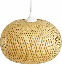 Zimmerlampe Dong Ha, Lampe aus Bambus als Hängelampe, Pendelleuchte für Wohnzimmer, Schlafzimmer, Kinderzimmer und Küche, asiatische Einrichtung, handgeflochten aus Bambus
