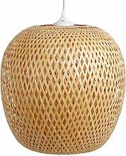 Zimmerlampe Ha Long, Lampe aus Bambus als Hängelampe, Pendelleuchte für Wohnzimmer, Schlafzimmer, Kinderzimmer und Küche, asiatische Einrichtung, handgeflochten aus Bambus