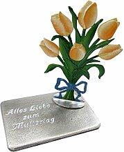 Zinngeschenke Blumenstrauss mit Tulpen gelb oder
