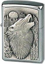 Zippo 13560 Howling Wolf Emblem - Chrome brushed Feuerzeug, schwarz