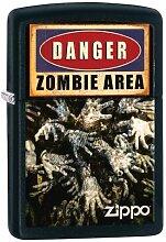 Zippo 16413 Zombie Area - Matte Feuerzeug, Chrom, schwarz