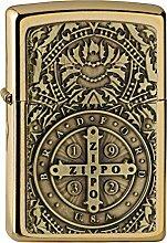 Zippo Benzinfeuerzeug, Messing, Edelstahloptik, 1