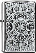 Zippo Compass Emblem Benzinfeuerzeug, Messing,