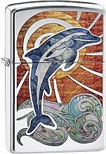 Zippo Dolphin Benzinfeuerzeug, Messing,