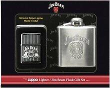 Zippo Feuerzeug Jim Beam + Flachmann Geschenk Se
