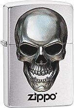 Zippo Metal Skull Benzinfeuerzeug, Messing,