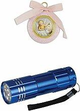 Zisaline-Kombi Engelbild rund rosa mit Band 7 cm (951988319223850) mit LED Alu Taschenlampe