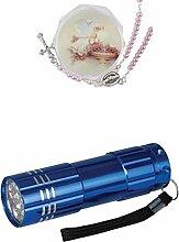 Zisaline-Kombi Tauf-Rosenkranz rosa Perle in Dose, ohne Text, Dose 3,5 cm, Rosenkranz 15 cm (951988319229913) mit LED Alu Taschenlampe