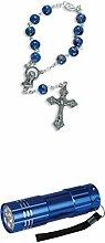 Zisaline-Kombi Zehner-Rosenkranz blau/bunt marmoriert 17 cm (951988319233507) mit LED Alu Taschenlampe