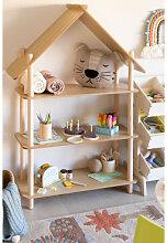 Zita Kinderregal mit 3 Holzregalen Braun Natur