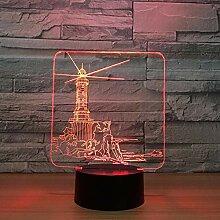 ziweipp Leuchtturm Design 3D LED Nachtlicht 7