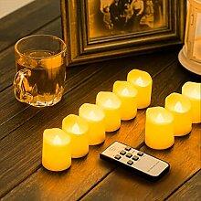 ZIYOUDOLI 6/9 Stück LED Teelichter Fernbedienung