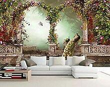 ZJfong Tapete 3D Foto Tapete idyllische Pfau Blume
