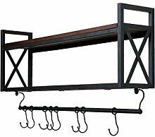 ZJJ Europäische Retro Eisen Holz Racks
