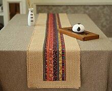 ZJM-TischLäufer Ethnische Stil Tischläufer Hand gemacht Sackleinen Tischset Tee Tisch Kissen ( Farbe : Rot , größe : 30*210cm )