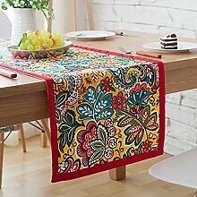 ZJM-TischLäufer Ethnischer Stil Tischläufer Polychrome Blumen Tischset ( Farbe : Rot , größe : 33*160cm )