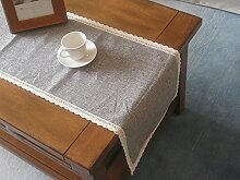 ZJM-TischLäufer Pure Color Tischläufer Nadel Spitze Ess-Tisch Kissen Grau ( größe : 30*200m )