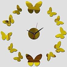 ZKHONG Mode Spiegel Wanduhr Stumm Schmetterling