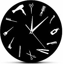ZKHONG Moderne Wanduhr Barber Tools Pattern Barber