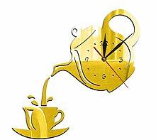 ZKHONG Moderne Wanduhr Teekanne Und Tasse Design
