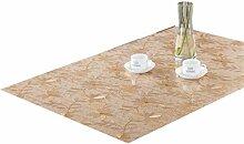ZKOO Weiches Glas Tischdecke Golden Chrysantheme