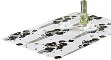 ZKOO Weiches Glas Tischdecke Schwarz Blume Drucken
