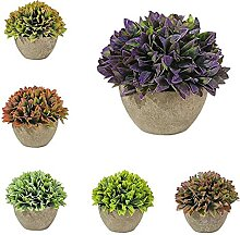 ZLJ Set von 6 Mini Bonsai künstliche Pflanze