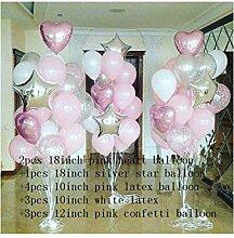 ZLJTT 14 Stücke 18 Zoll Herz Stern Folienballon