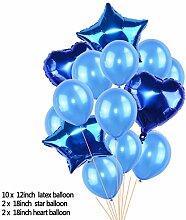 ZLJTT 18 Zoll Herz Stern Folienballon 12 Zoll