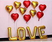 ZLJTT 32Inch Letter Love Folienballon 18Inch Gold