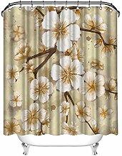 Zlove Blumen-Duschvorhang, gelb und weiß,