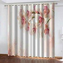 ZLQBed Vorhang Blickdicht Blumen Gardinen mit