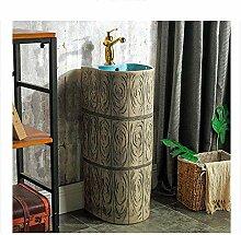 ZLXLX runde Retro Waschbecken Badezimmer Moderne