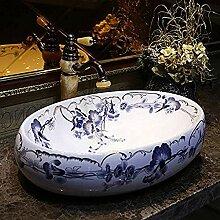 ZLXLX Waschbecken Aufsatzwaschbecken Ovales