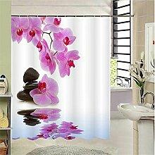 ZLYAYA-Badezimmer Polyester wasserdicht Moldproof Deckkraft Badewanne Duschvorhang mit 12 Hooks-Flower Landschaft digitale Muster drucken