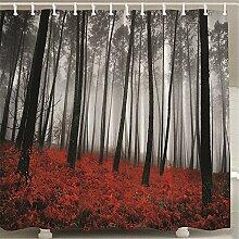 ZLYAYA-Badezimmer Polyester wasserdicht Moldproof Deckkraft Badewanne Duschvorhang mit 12 Hooks-Red Blätter voller Land digitale Muster drucken
