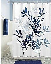 ZLYAYA-Badezimmer Polyester wasserdicht Moldproof Deckkraft Badewanne Duschvorhang mit 12 Hooks-Blue Blätter digitale Muster drucken