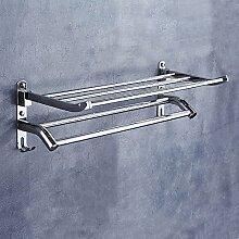 ZLYAYA--Double Layer 304 Edelstahl Falten nicht Double Bar 50 cm Punch, Nicht punch Handtuchhalter,einfache Art und Weise an der Wand Bad Küche handtuchstangen montiert,Regal hardware Anhänger